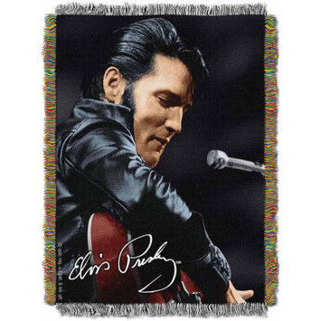 The Northwest Company Elvis Presley 68 Leather Sitting with Guitar Woven Tapestry Throw Blanket