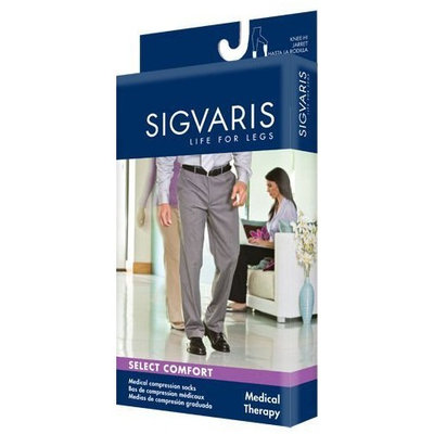 Sigvaris 860 Select Comfort Series 30-40 mmHg Men's Closed Toe Thigh High Sock Size: S3, Color: Khaki 30
