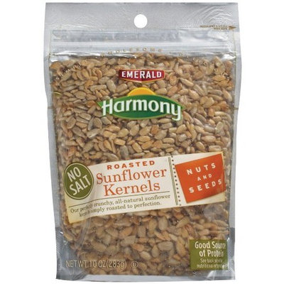 Emerald Harmony Sunflower Kernels Roasted/No Salt, 10 Ounce Bags (Pack of 12)