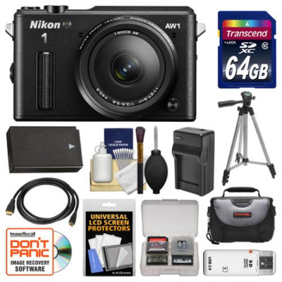 Nikon 1 AW1 Shock & Waterproof Digital Camera Body with AW 11-27.5mm Lens (Black) with 64GB Card + Case + Battery & Charger + Tripod + Accessory Kit