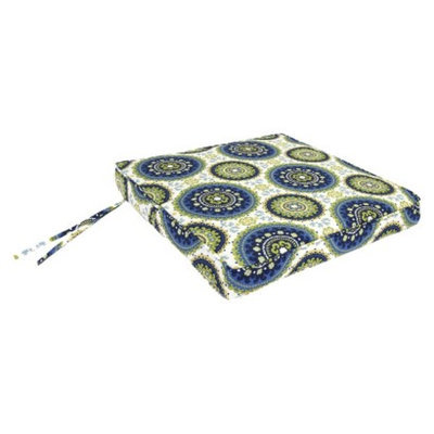 Jordan Outdoor Seat Cushion - Blue/Green/Yellow Geometric