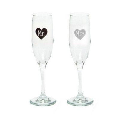 Hortense B. Hewitt Mr. and Mrs. Heart Champagne Flutes