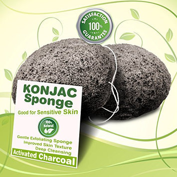 Gaia Konjac Bath Sponge 2 Pack - The Gentle Alternative to Baby Washcloths - Completely Free From Harmful Chemicals Found in Other Loofahs