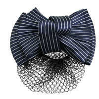 Uxcell Striped Bowknot Decor Snood Net Barrette or Hair Clip