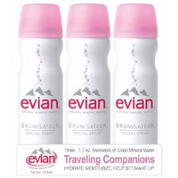 Evian Spray Brumisateur Natural Mineral Water, Travel Trio