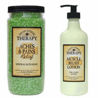 Muscle Aches and Pains Relief Lotion Mineral Bath Soak Relaxing Package From Village Naturals - Aromatherapy with Essential Oils and Extracts From Eucalyptus and Menthol - Great Aromatic Bath and After Bath Lotion Products