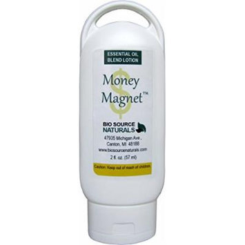 Money Magnet Essential Oil Blend Lotion 2 fl. oz / 57 ml with therapeutic quality essential oils: Sandalwood, Rose Geranium, Juniper Berry, Tangerine, Jasmine, Pine, Lavender, Rose, Lemon, Cedarwood, Ginger Root, Orange, Frankincense, Melissa, Ylang...