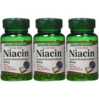 Nature's Bounty Flush Free Niacin 500 Mg, 150 Capsules (3 X 50 Count Bottles)