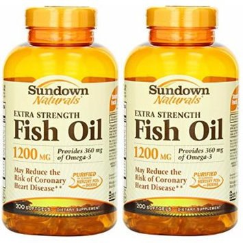 Sundown Naturals Fish Oil 1200 Mg Extra Strength Softgels, 400 Count (2 X 200 Count Bottles)