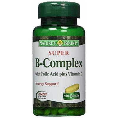 Nature's Bounty Super B-complex with Folic Acid Plus Vitamin C, 300 Tablets (2 X 150 Count Bottles)