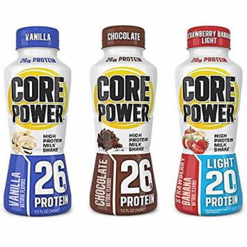 CORE POWER Natural High-Protein Milk Shake VARIETY (pack of 6) PLUS FREE BONUS PENCIL POUCH