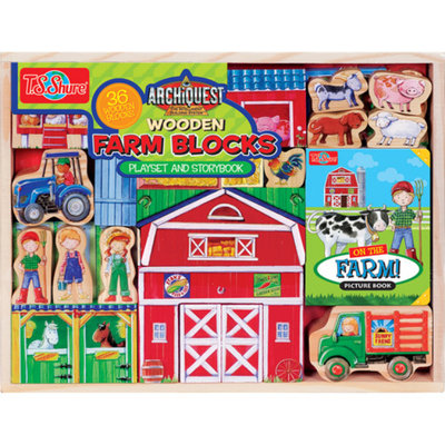 T.S. Shure ArchiQuest Wooden Farm Blocks Play Set and Storybook