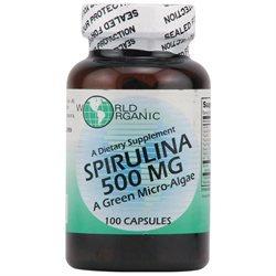 World Organic Spirulina - 500 mg - 100 Capsules