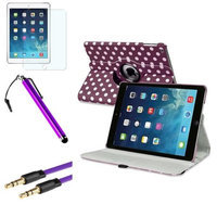 Insten INSTEN Purple/White Polka Dot 360 Leather Case Cover+Matte+Cable For Apple iPad Air 5th