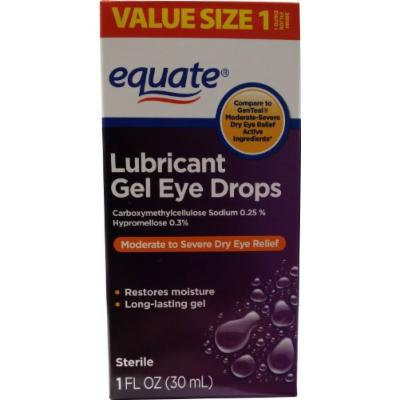 Lubricant Gel Drops for Moderate-Severe Dry Eye Relief 1oz by Equate, Compare to GenTeal