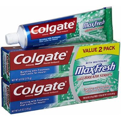 Colgate MaxFresh Clean Mint Toothpaste with Mini Breath Strips, 6 oz, 2pk