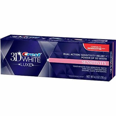 Crest, 3D White Luxe Sensitivity Whitening Pampering Mint Flavor Toothpaste - 4.1 Oz, Pack of 2