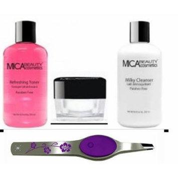 Bundle 4 Items: Mica Beautymosturizer. Milk Cleanser Tonner + Lighted Floral Purple Tweezers
