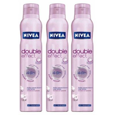 Nivea Double Effect 48 Hr Anti-perspirant Deo Spray (Violet Senses) 150ml. (Pack of 3)
