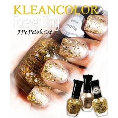 Kleancolor Nail Polish Lacquer 3 pc DIY Gold Bling Glitter Set