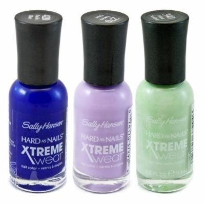 Sally Hansen Xtreme Wear Lacey Lilac, Pacific Blue and Mint Sorbet with Dimple Bracelet