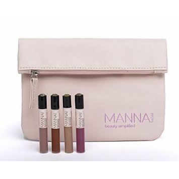 Manna Kadar Cosmetics 4 Mini Lip Locked Matte & Primer Stain with Cosmetic Bag