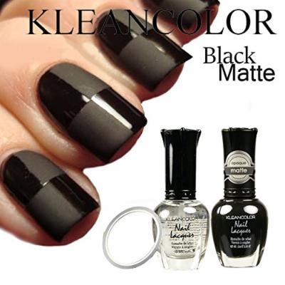 DIY Kleancolor Nail Polish Black and #90 Madly Matte Nail Lacquer Matte Opaque