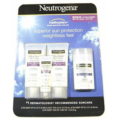Neutrogena Ultra Sheer Dry Touch Sunscreen Broad Spectrum SPF 55 Lotion 3.0 fl oz (Pack of 2) + Face and Body Stick (1.5 oz) + Bonus Lotion (1.0 fl oz)