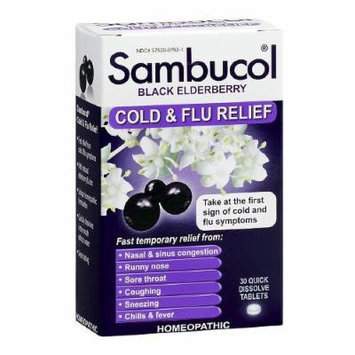 Sambucol Black Elderberry Cold and Flu Relief Tablet 30 Quick Dissolve Tablets (Pack of 3)