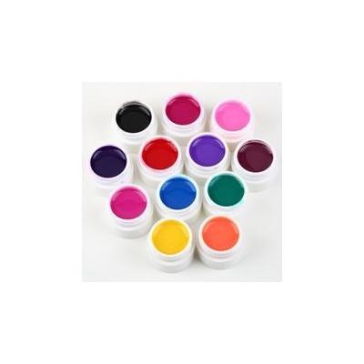 12pcs Solid Pure Uv Gel Solid Color Glue Extension DIY Builder Nail Art