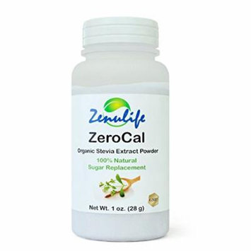 ZEROCAL Organic Stevia Extract Powder (28g - 1 oz) the Healthy Natural Sweetner Powder Made from Pure Raw Organic Stevia Leaf with Zero Calories