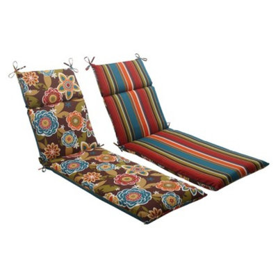 Pillow Perfect Outdoor Reversible Chaise Lounge Cushion- Brown/Turquoise