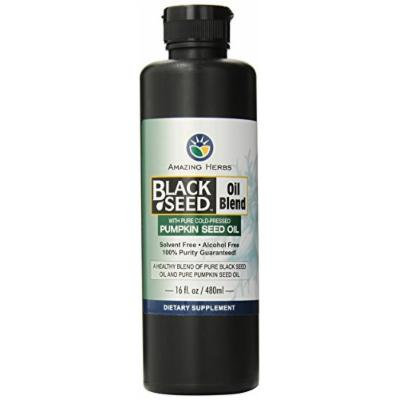 Amazing Herbs Black Seed and Pumpkin Seed Oil Blend, 16 Fluid Ounce