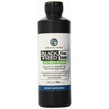 Amazing Herbs Black Seed and Flax Seed Oil Blend, 16 Fluid Ounce