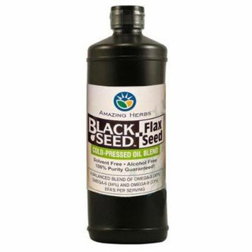 Amazing Herbs Black Seed and Flax Seed Oil Blend, 32 Fluid Ounce