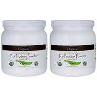 100% Certified Organic Pea Protein Powder (Two Jars each of 16 ounces)