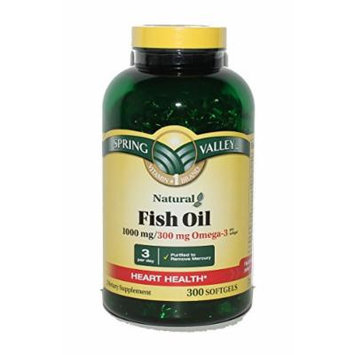 Spring Valley Fish Oil Supplement - 1000 mg, 300mg Omega-3, 300 Softgels (Pack of 3)