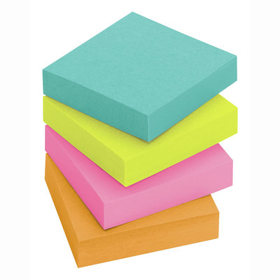 Post-it(R) Miami Collection Super Sticky Notes, 1 7/8in. x 1 7/8in, Assorted Colors, 90 Sheets Per Pad, Pack Of 8 Pads