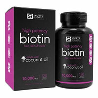 Biotin 10,000mcg in Cold-Pressed Organic Coconut , Non-GMO & Gluten Free - 120 Mini Veggie Softgels