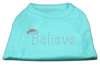Mirage Pet Products 522502 XXXLAQ Believe Rhinestone Shirts Aqua XXXL 20