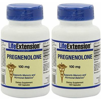 Life Extension Pregnenolone 100 Mg Capsule, 100-Count (2 pack)