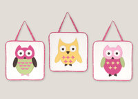 Sweet Jojo Designs Owl Pink Collection Wall Hangings