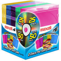Maxell 25PK CD-392 MULTI-COLOR DOUBLE SLIMLINE CD JEWEL CA