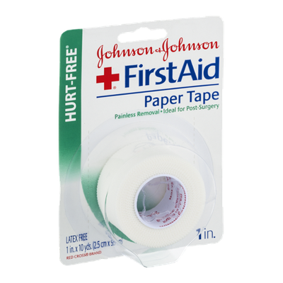 Johnson & Johnson Hurt-Free First Aid 1in. Paper Tape Latex Free