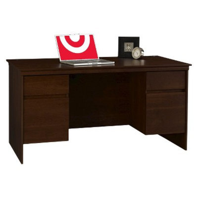 Executive Desk: Ameriwood Executive Desk - Red-Brown (Cherry)