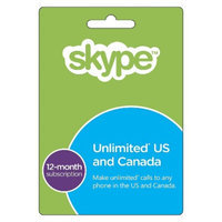 Interactive Communication Skype 12 Month Unlimited US&CA calling Prepaid Card