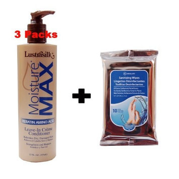 Lustrasilk Moisture Max Keratin Amino Acid Leave-In Creme Conditioner 12oz (Pack of 3) w/ Nicka K Sanitizing Wipes