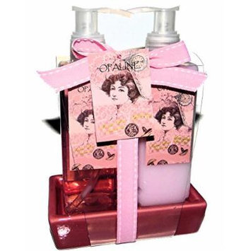 Sweet Pea Ancient Luxury Bath Spa Gift Set. Shower Gel, Body Lotion & Ceramic Soap Dish