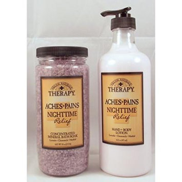 Village Naturas Nighttime Relief Therapy Bundle - One 20 Oz. Bath Salt and One 16 Oz. Hand & Body Lotion