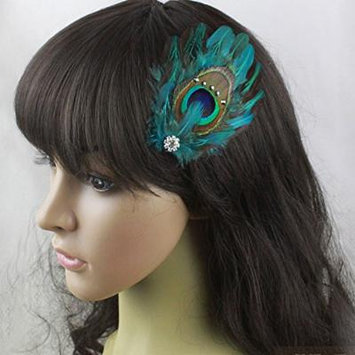 Nero Women's Handmade Peacock Feather Fascinator Hair Clips, Fascinator Headpieces